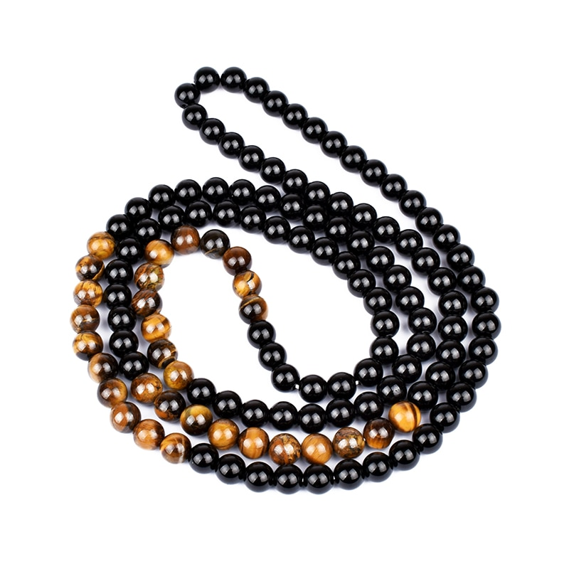 Black Onyxs Men's Tiger Eye Stone Bead Necklace Fashion Natural Stone Obsidian Necklaces Women New Design Handmade Jewelry Gift CLOVER JEWELLERY