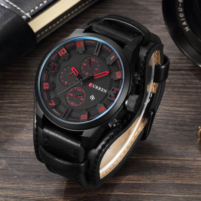 Luxury Men's Watches Male Clocks Date Sport Military Clock Leather Strap Quartz Business Men Watch CLOVER JEWELLERY