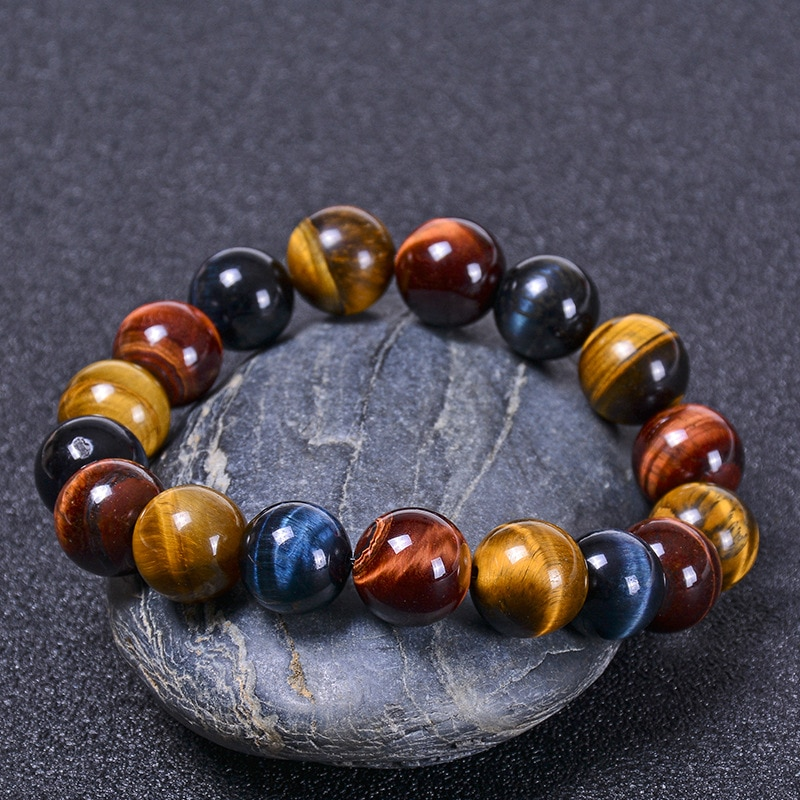 Fashion colorful Tiger eyes Beads Bracelet Men Charm Natural Stone Braslet For Man Handmade Jewelry Gifts CLOVER JEWELLERY