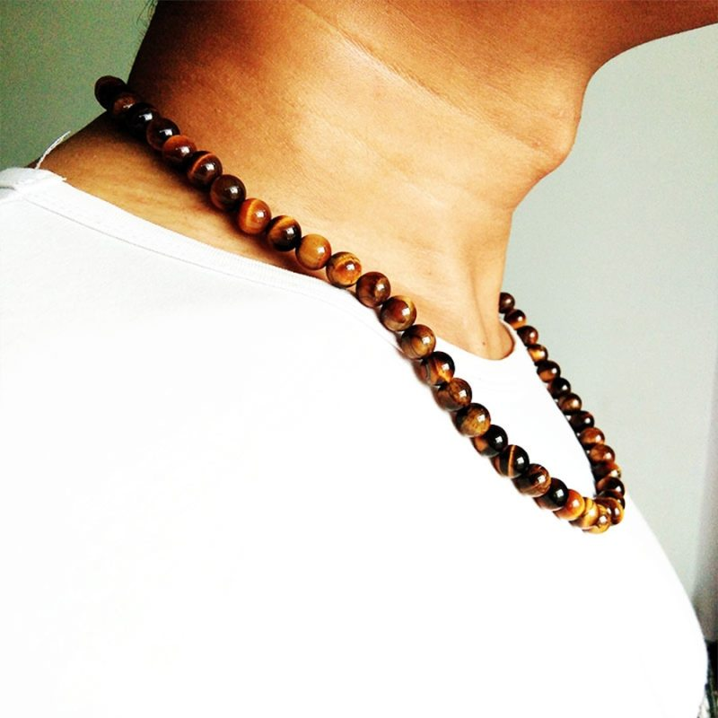 Fashion Vintage Men Jewelry Beaded Choker Nature Tiger Eye Stone Beads collares Chain Necklace Men 6mm 8mm Strand Necklace kolye CLOVER JEWELLERY