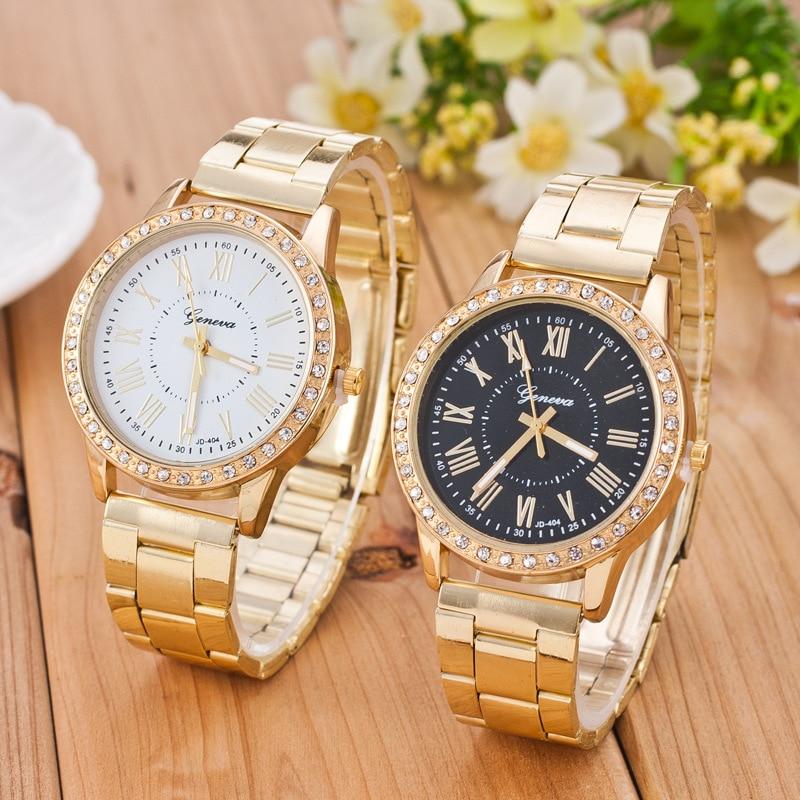 Geneva Watch Women Watches Luxury Gold Watch Stainless Steel Rhinestone Women's Watches Ladies Watch Clock CLOVER JEWELLERY