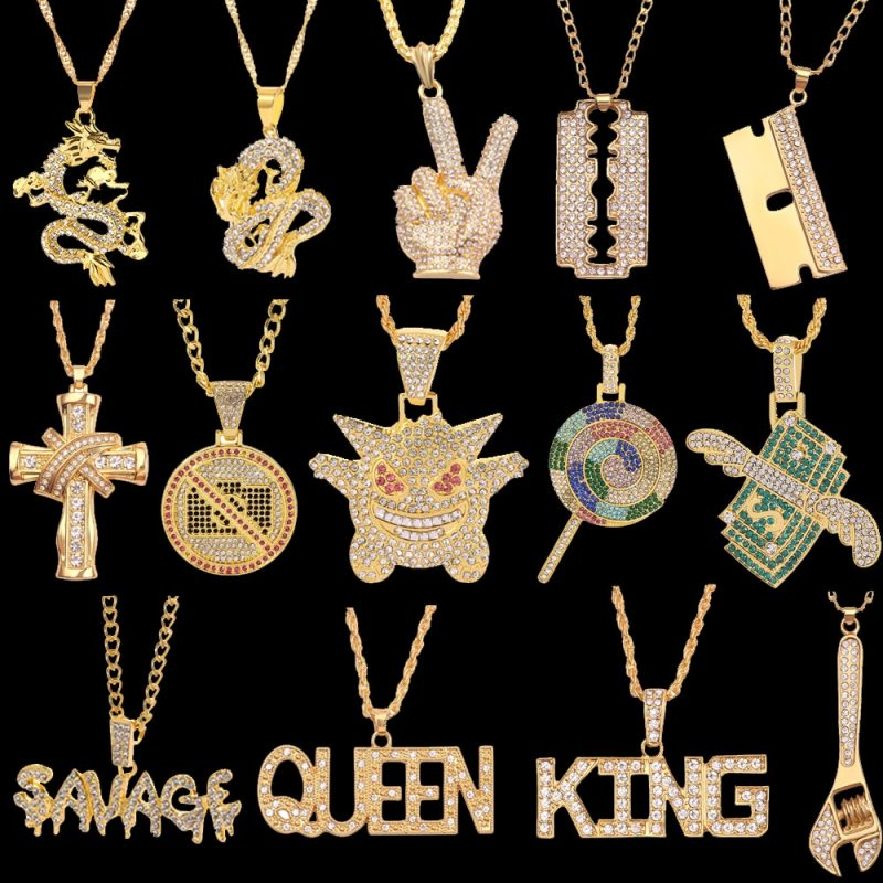Queen & King Hip Hop Chain Necklace Rock Iced Out Bling Pendant Gold Silver Color Chains Necklaces Jewelry For Women Men Rapper Accessories CLOVER JEWELLERY