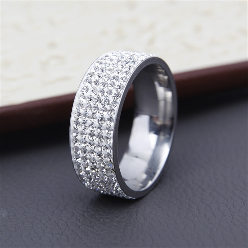 Hot Sale Vintage Retro Style Steel Ring for Women 5 Row Clear Crystal Jewelry Fashion Stainless Steel Engagement Wedding Rings CLOVER JEWELLERY
