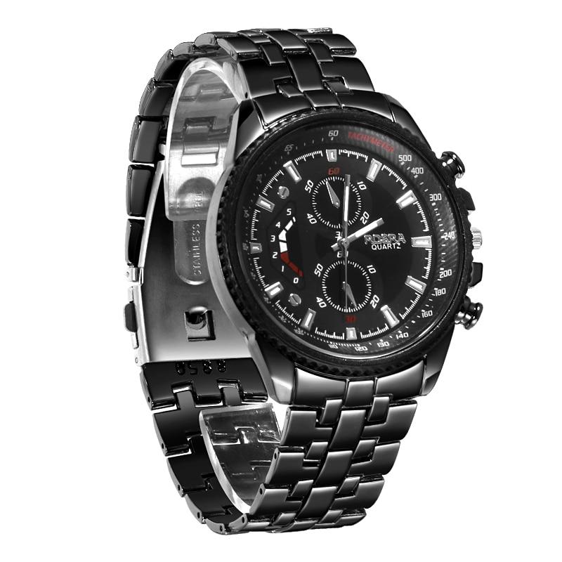 Men Sports Watches Black Stainless Steel Quartz Wristwatches Men Military Watches CLOVER JEWELLERY