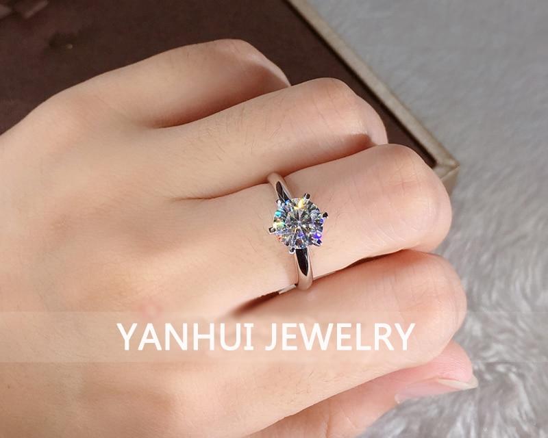 Luxury 18K White Gold Ring Original 2.0ct Zirconia Diamond Wedding Band Silver 925 Jewelry Women Christmas Gift With Certificate CLOVER JEWELLERY