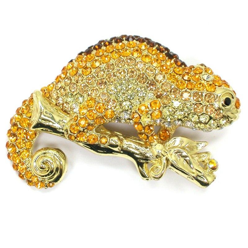 12pcs/lot Wholesale Adorable Crystal Rhinestone Chameleon Brooch Fashion Jewelry CLOVER JEWELLERY