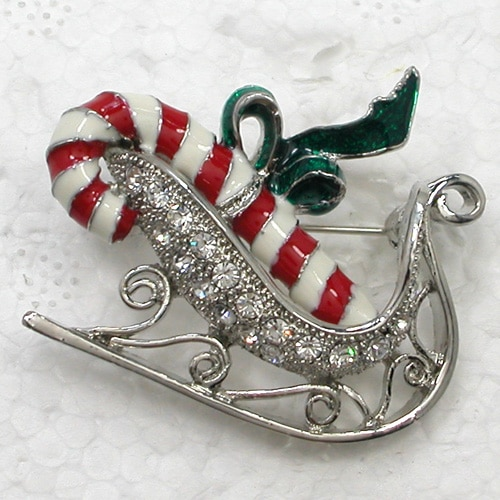 12pcs/lot Wholesale Fashion Brooch Crystal Rhinestone Enamel Christmas stick Pin brooches CLOVER JEWELLERY