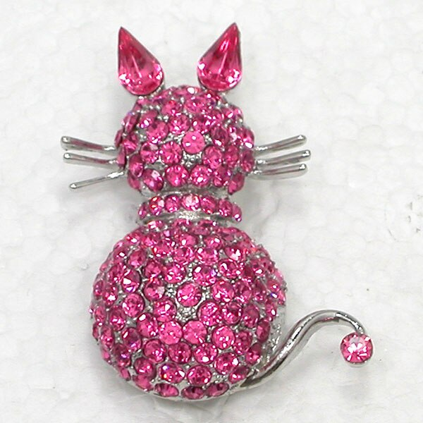 12pcs/lot Fashion Brooch Crystal Rhinestone Kittens Cat Pin brooches CLOVER JEWELLERY