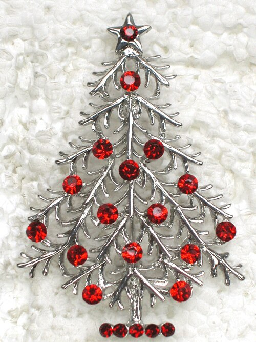 12pcs/lot Fashion Brooch Rhinestone Christmas tree Pin brooches Christmas Gift CLOVER JEWELLERY