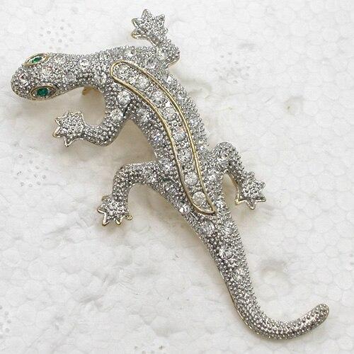 12pcs/lot Wholesale Fashion Brooch Rhinestone Gecko Pin brooches CLOVER JEWELLERY