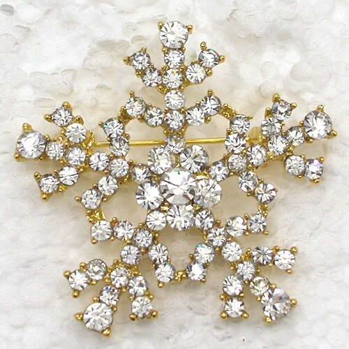 12pcs/lot Wholesale Fashion Brooch Rhinestone Snowflakes Christmas Flower Pin Brooches CLOVER JEWELLERY