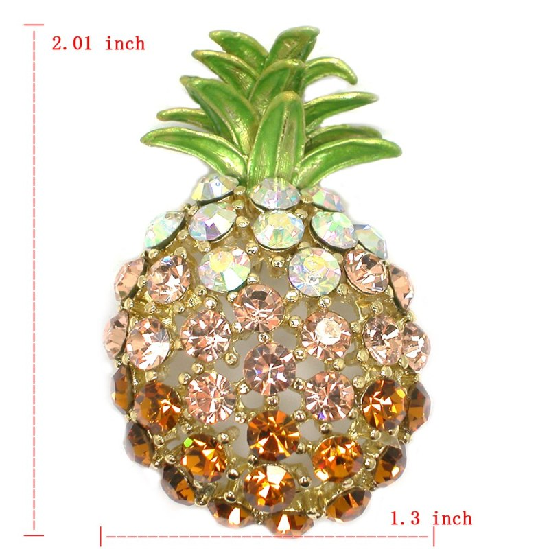 12pcs/lot Wholesale Fashion Brooch Rhinestone Pineapple Pin Brooches Accessories CLOVER JEWELLERY