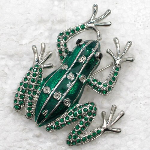 12pcs/lot Wholesale Fashion brooch Frog Rhinestone Enamel Pin brooches CLOVER JEWELLERY