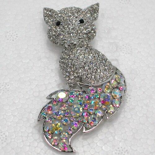 12pcs/lot Fashion Brooch Rhinestone Big Fox Pin Brooches CLOVER JEWELLERY
