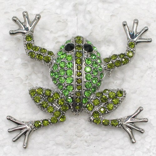 12pcs/lot Wholesale Fashion brooch Rhinestone Frog Pin brooches Accessories CLOVER JEWELLERY
