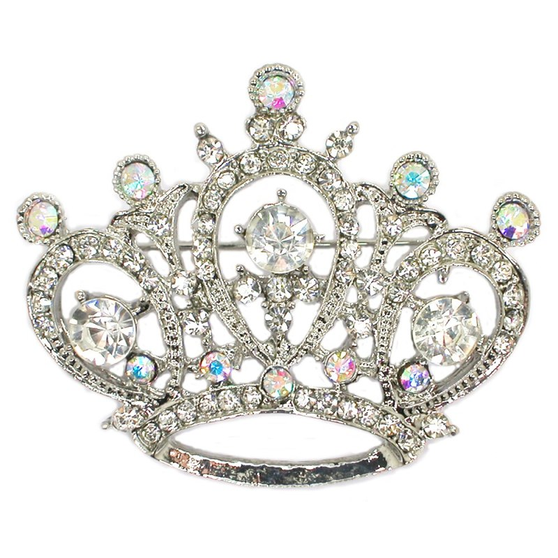 12pcs/lot Wholesale Rhinestone Crown Pin brooches Bridal wedding party prom pin broochs jewelry gift CLOVER JEWELLERY