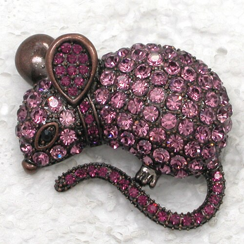 12pcs/lot Wholesale Rhinestone Mice Pin brooches Pendant CLOVER JEWELLERY