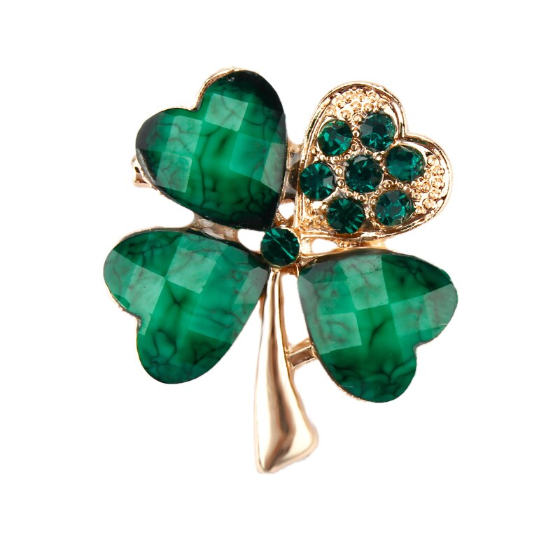 Green Four Leaf and Rhinestones Lapel Pins or Brooches CLOVER JEWELLERY