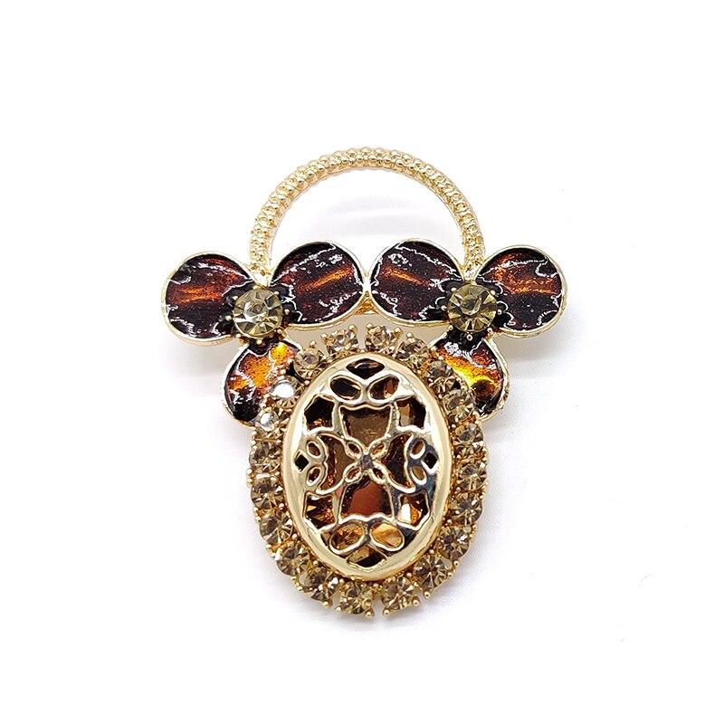 Clover Flower Basket Hollow Metal Dripping Craft Corsage Enamel Pins Brooch CLOVER JEWELLERY
