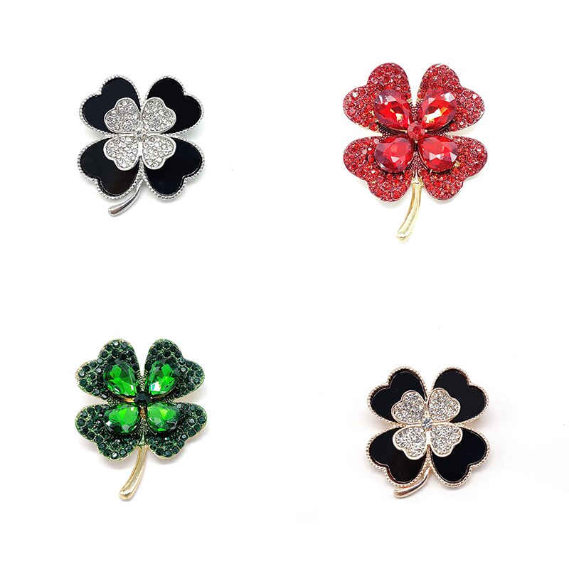 Four-leaf Clover Acrylic Metal Brooch Women Accessories CLOVER JEWELLERY