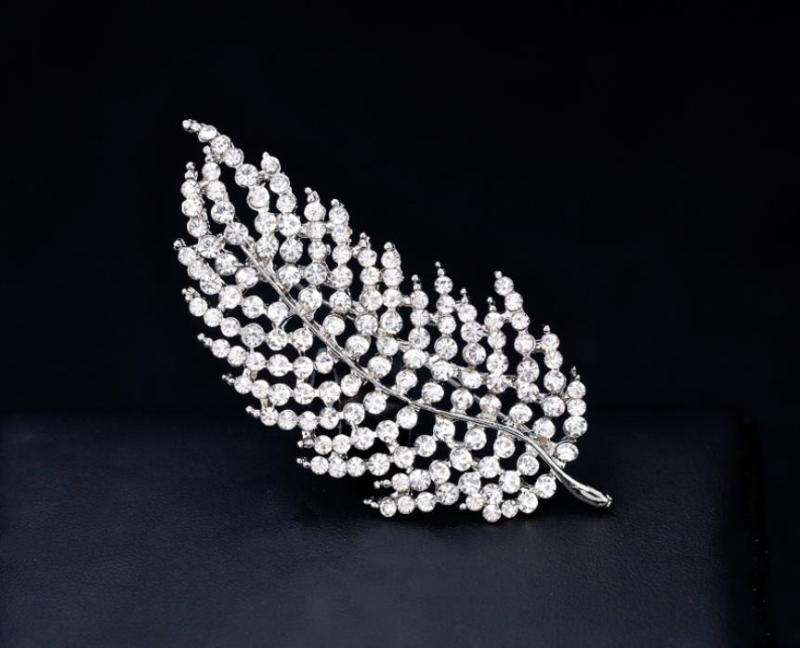 Silver Plated Clear Rhinestone Crystal Diamante Leaf Brooch Prom Party Gift(23/4 Inch ) CLOVER JEWELLERY