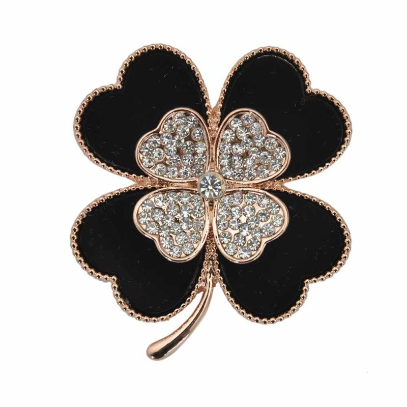 Acrylic Sheet Clover Brooch For Women Gold Color Rhinestone Brooch Jewelry & Accessories Christmas Brooch Pins CLOVER JEWELLERY