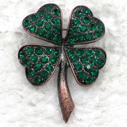 Antique Copper Clover Brooch Green Rhinestone Pin Brooches CLOVER JEWELLERY