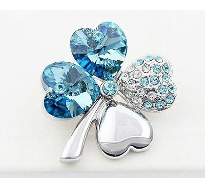 Crystal Four Leaf Clover Brooch Romantic Cute Fashion Jewelry Accessories CLOVER JEWELLERY
