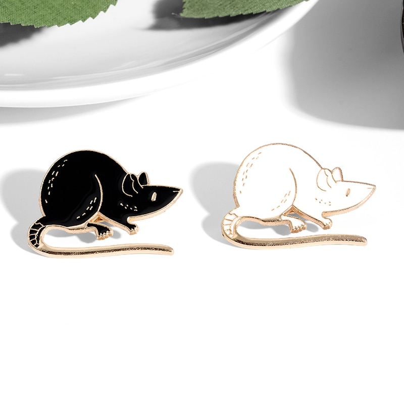 Black White Rats Enamel Pin Custom Mouse Brooches Animal Badge Bag Shirt Lapel Pin Buckle Simple Jewelry Gift for Friends CLOVER JEWELLERY