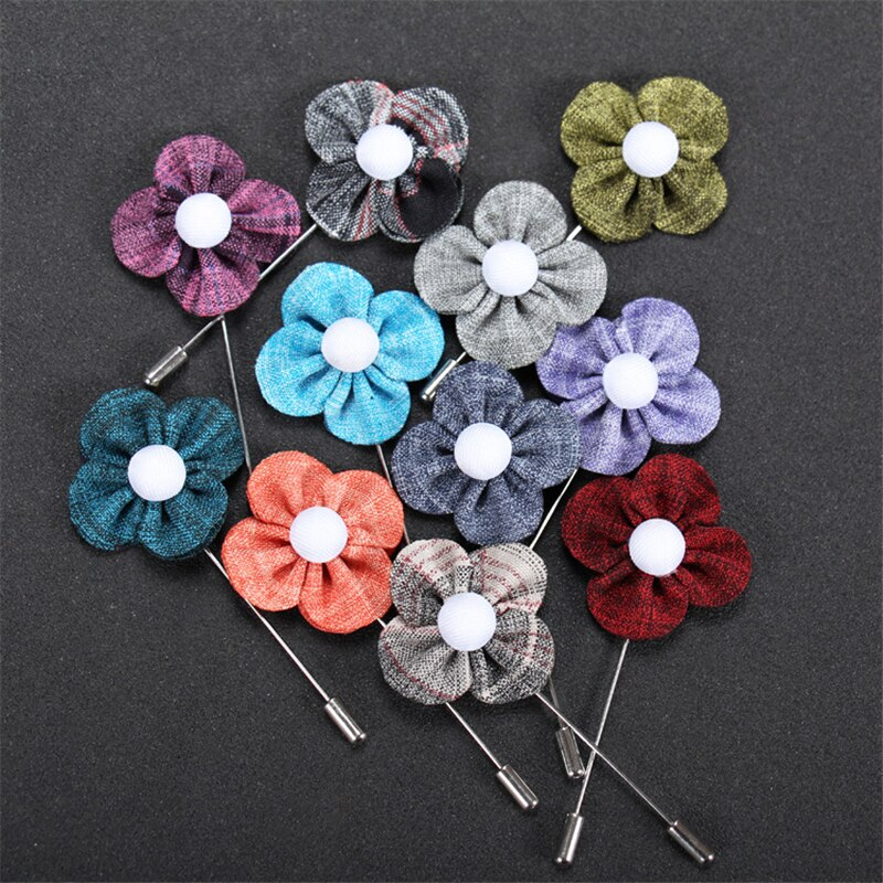 5Pcs Mix Colors Clover Flower Handmade Men's Suit Brooches CLOVER JEWELLERY