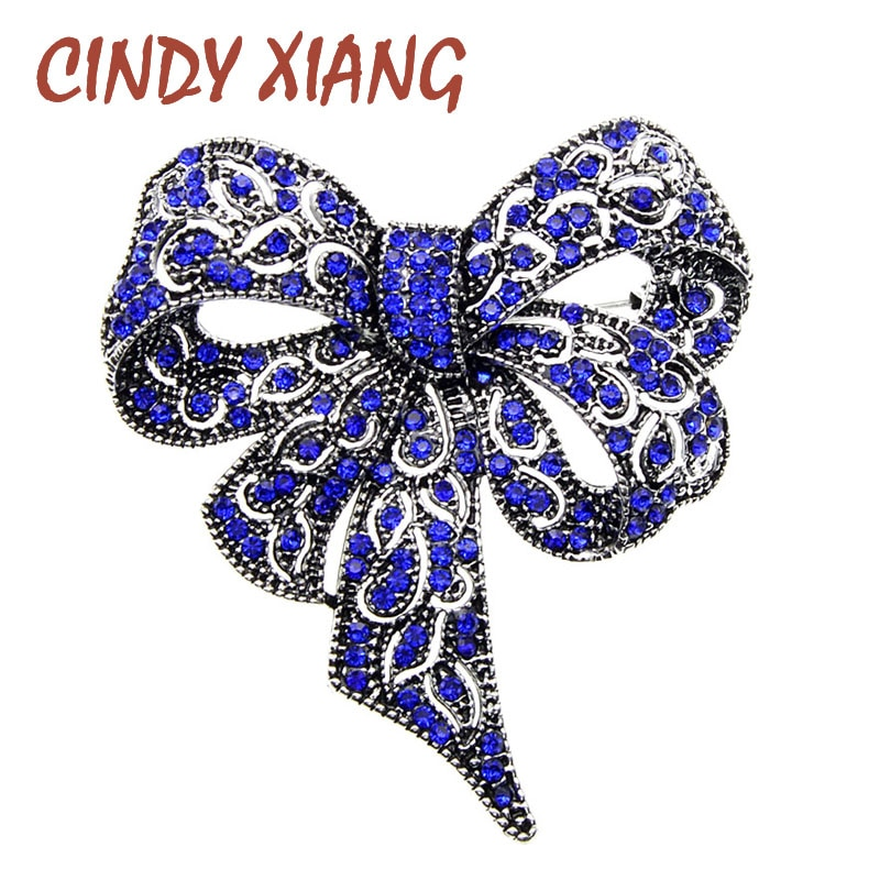 Black Color Rhinestone Bow Brooches for Women CLOVER JEWELLERY