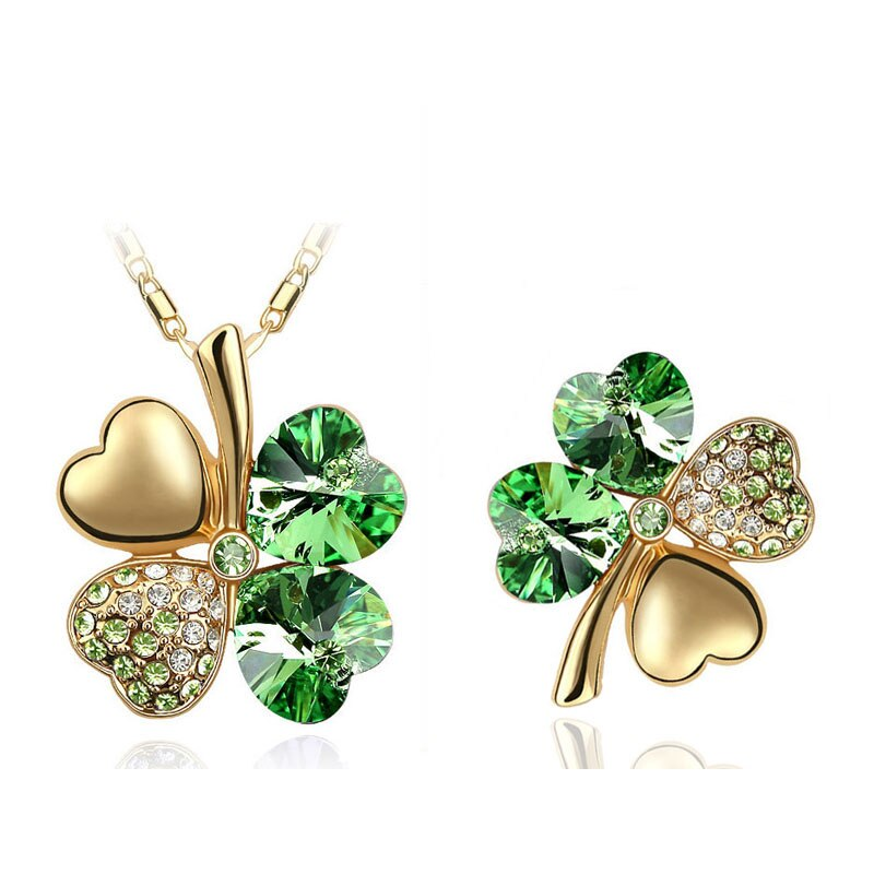 Crystal Clover 4 Leaf Heart Pendant Necklace Brooch Fashion Jewelry Sets Lover Classic Gifts Girl Accessories CLOVER JEWELLERY