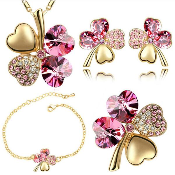 Crystal Clover 4 Leaf Heart Pendant Fashion Jewelry Set (necklace Earrings Bracelet Brooch) Charms Girl Quality CLOVER JEWELLERY