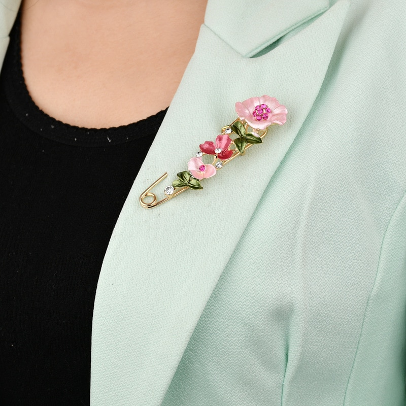 Elegant Pin Rhinestone Jewelry 3 Colors Flower Enamel Brooch Women Cardigan Scarf Dress Clothes Simple Lapel Pin Accessories CLOVER JEWELLERY