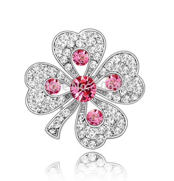 Garment Accessories Decoration Gift Austrian Crystal Diamante Four Leaf Clover Brooch Pin CLOVER JEWELLERY