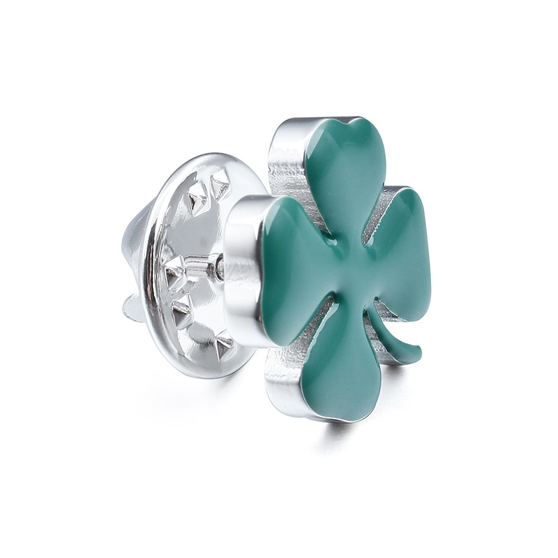 Four Leaves Clover Brooch Pin Locking Clutch Back Green Lucky Leaf Lapel Pin Unisex Jewelry Ornament CLOVER JEWELLERY