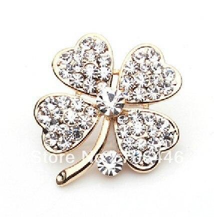 Gold Tone Lilac Rhinestone Crystal Small Clover Leaf Flower Pin Brooch CLOVER JEWELLERY