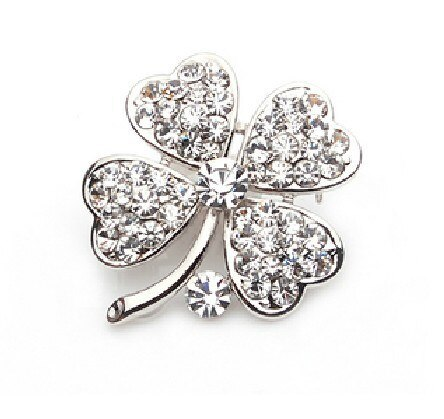 Gold Tone Lilac Rhinestone Crystal Small Clover Leaf Flower Pin Brooch CLOVER JEWELLERY