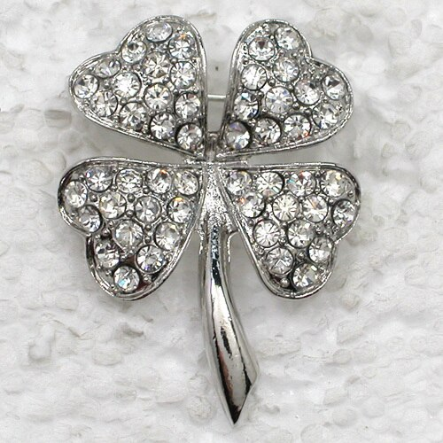 Four Leaf Clover Brooch Clear Rhinestone Pin brooches CLOVER JEWELLERY