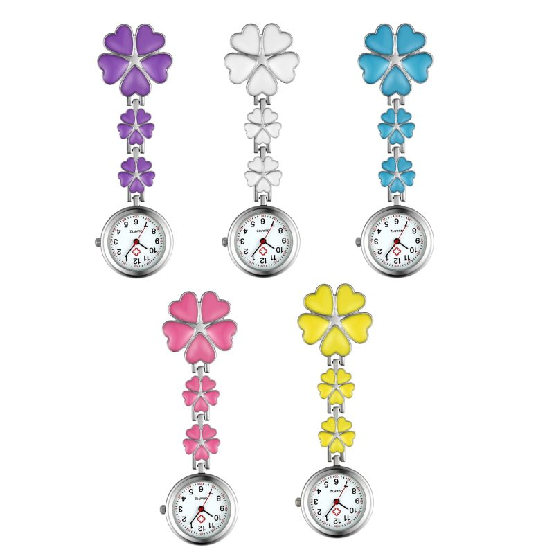 Four Leaf Clover Nurse Watch Clip-on Fob Brooch Pendant Hanging Watch Pocket Watch Luminous Medical Doctor Nurse Watch CLOVER JEWELLERY