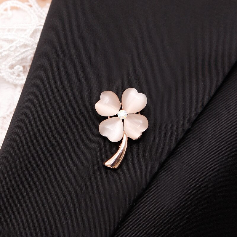 Opal Stone Four Leaf Clover Brooch Pin Zinc Alloy Pin Gold Color CLOVER JEWELLERY