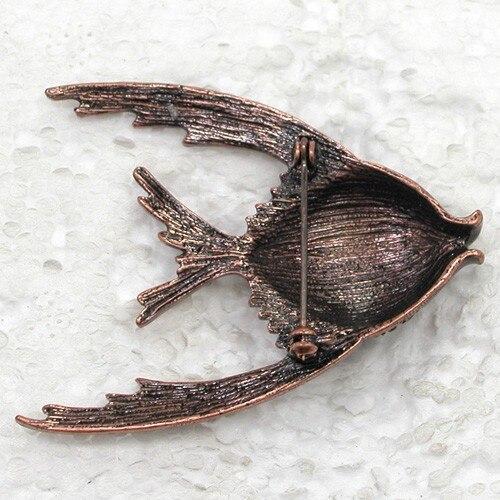 Antique copper Brooch Purple Rhinestone Fish Pin brooches CLOVER JEWELLERY