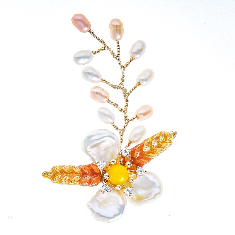 Handmade Clover Natural Baroque Pearl Enamel Brooch Pins Wedding Party Accessories CLOVER JEWELLERY