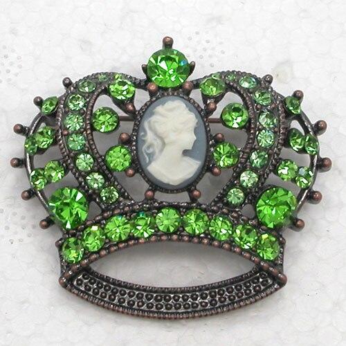 12pcs/ lot Wholesale Portrait Crown Rhinestone Pin brooches CLOVER JEWELLERY