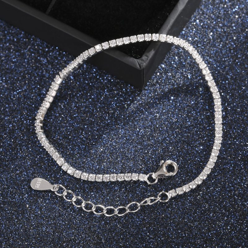 Silver Tennis Charm Bracelets For Women With Cubic Zirconia CLOVER JEWELLERY