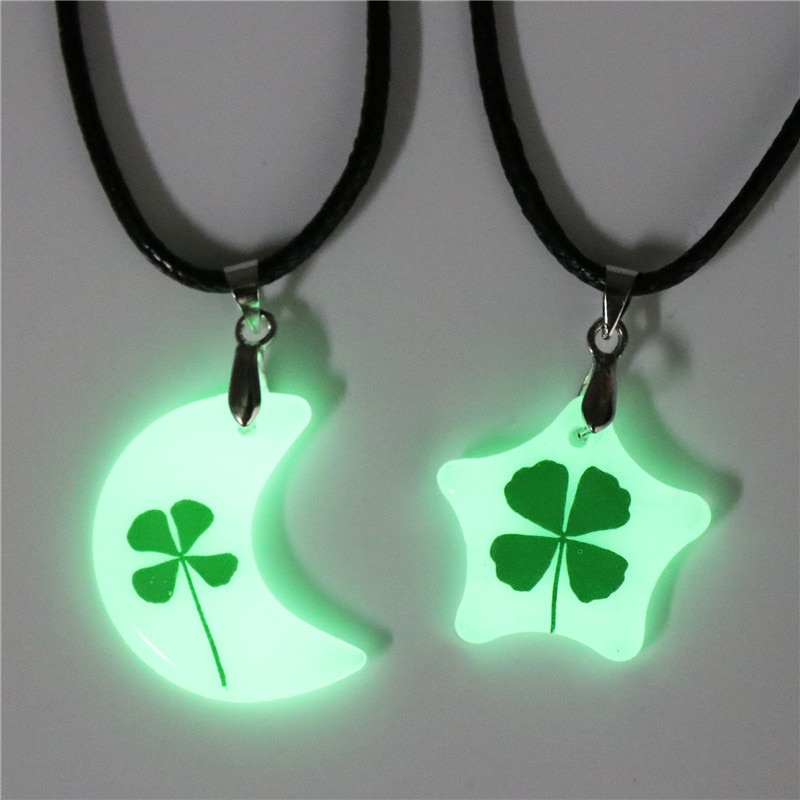 Dried Flower Lover Clover Luminous Couple Necklace with Pendant CLOVER JEWELLERY