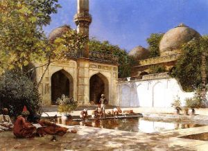 Figures in the Courtyard of a Mosque, by Edwin Lord Weeks