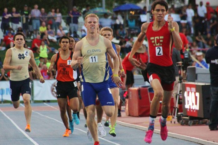 Clovis High senior Connor Morello attempts to pass Centennial's Isaac Trevino in the 800 state finals. Morello settled for a silver medal for the second year in a row.