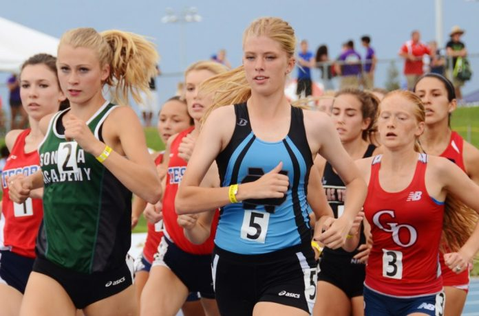 Photo by Nick Baker Clovis North distance runner Lauren Moffett races in the 1600 at the CIF State Track and Field Championships. She also competed in the 3200.