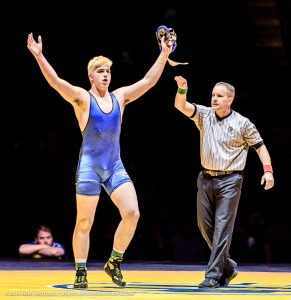 Photo by Tony Rotundo Seth Nevills of Clovis was named Freshman of the Year by Cal-Hi Sports. Nevills capped off an amazing campaign, going 44-0 on the season and winning the 220-pound state title.